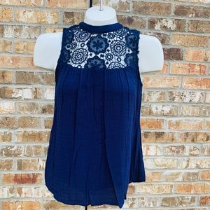 XHILARATION  Blue Lace Yoke Sleeveless Blouse